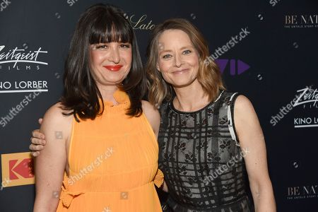 """Pamela B. Green, Jodie Foster. Pamela B. Green, left, and Jodie Foster arrive at the Los Angeles premiere of """"Be Natural: The Untold Story of Alice Guy-Blache"""", at Harmony Gold in Los Angeles"""
