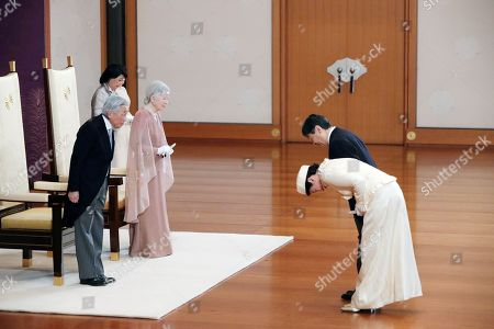 Japan's Emperor Akihito (L) and Empress Michiko (2-L) are greeted by Crown Prince Naruhito (top, R) and Crown Princess Masako (bottom, R) for their 60th wedding anniversary at the Imperial Palace in Tokyo, Japan, 10 April 2019. Emperor Akihito will abdicate on 30 April.