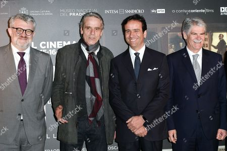 Stock Image of Miguel Falomir Director of Prado Museum, Jeremy Irons, Alfonso Dastis Spanish Amabssador in Italy