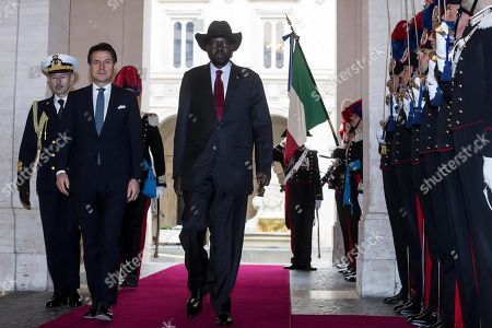Italian Prime Minister Giuseppe Conte (2-L) welcomes South Sudan's President Salva Kiir Mayardit (C) for a meeting at Chigi Palace in Rome, Italy, 10 April 2019. Kiir is in Rome at the head of a delegation that will participate in a 'spiritual retreat' in the Vatican on 10 and 11 April 2019, according to media reports.