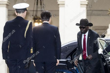 Italian Prime Minister Giuseppe Conte (C) welcomes South Sudan's President Salva Kiir Mayardit (R) for a meeting at Chigi Palace in Rome, Italy, 10 April 2019. Kiir is in Rome at the head of a delegation that will participate in a 'spiritual retreat' in the Vatican on 10 and 11 April 2019, according to media reports.