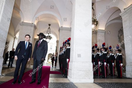 Italian Prime Minister Giuseppe Conte (L) welcomes South Sudan's President Salva Kiir Mayardit (2-L) for a meeting at Chigi Palace in Rome, Italy, 10 April 2019. Kiir is in Rome at the head of a delegation that will participate in a 'spiritual retreat' in the Vatican on 10 and 11 April 2019, according to media reports.