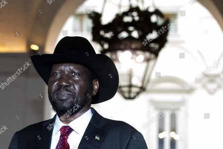 South Sudan's President Salva Kiir Mayardit during his visit at Chigi Palace in Rome, Italy, 10 April 2019. Kiir is in Rome at the head of a delegation that will participate in a 'spiritual retreat' in the Vatican on 10 and 11 April 2019, according to media reports.
