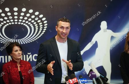 Former world heavyweight champion Wladimir Klitschko speaks as he presents the VADA experts on the Olimpiyskiy stadium in Kiev, Ukraine, 10 April 2019. Experts from the Voluntary Anti-Doping Association (VADA) have arrived in Ukraine at the invitation of Ukrainian boxer Wladimir Klitschko. The experts came to carry out a health check-up for two leading presidential candidates, incumbent President Petro Poroshenko and showman Volodymyr Zelensky, if they give their consent. Zelensky on 03 April 2019 declared his readiness to come to the debate with Poroshenko ahead of the April 21 runoff, however, he voiced a number of conditions. In particular, he said the debates should be held at Kyiv's Olimpiyskiy Stadium with all TV channels being able to air the event live, while both candidates must undergo medical tests to prove there are 'no alcohol or drug addicts' among them. Poroshenko agreed to hold the debate with Zelensky at the stadium. On 05 April 2019, Zelensky had blood tests at a private clinic, Eurolab. Poroshenko in turn had relevant tests at the Olimpiyskiy health center. Wladimir Klitschko called the presidential candidates' medical tests ridiculous and offered to arrange new drug testing at VADA.