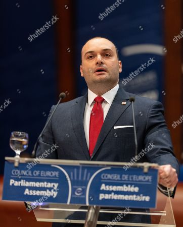 Prime Minister of Georgia Mamuka Bakhtadze delivers his speech at the Council of Europe in Strasbourg, France, 10 April 2019. Bakhtadze addressed the Parliamentary Assembly in Strasbourg on the opportunities and challenges facing Georgia and to mark the 20th anniversary of Georgia's accession to the EU Council.