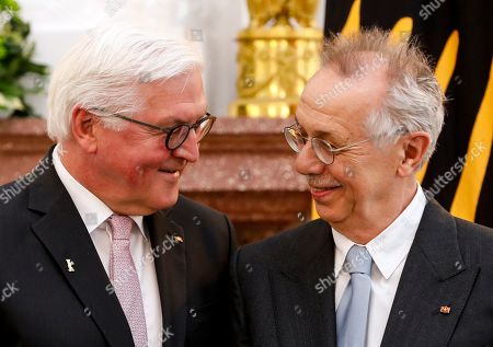 German President Frank-Walter Steinmeier (L) awards the Order of Merit to former director of the Berlinale film festival, Dieter Kosslick, during a ceremony at Bellevue Palace in Berlin, Germany, 10 April 2019. The Order of Merit of the Federal Republic of Germany is awarded by the President to honor achievements of 'particular value to society'.
