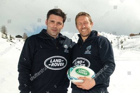 Dimitri Yachvili and Land Rover ambassador Jonny Wilkinson in action during an event for Rugby World Cup 2019