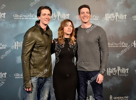 British actors James Phelps (L) and Oliver Phelps (R) and Natalia Tena (C) attend a presser on occasion of the presentation of a Harry Potter movie saga exhibition in Madrid, Spain, 10 April 2019. The exhibit 'Harry Potter: The Exhibition' will be held in Valencia starting 13 April.