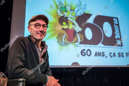 French scenarist Jean-Yves Ferri poses during a press conference for presenting the 38th album of the adventures of the two Gauls, Asterix and Obelix entitled 'La Fille de Vercingetorix' (Vercingetorix's Daughter) at the Asterix Parc  in Plailly, near Paris, France, 10 April 2019. This album will be released worldwide on 24 October 2019 and will mark the 60th anniversary of the first Asterix's album.