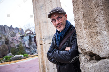 French scenarist Jean-Yves Ferri poses on occasion of a press conference for presenting the 38th album of the adventures of the two Gauls, Asterix and Obelix entitled 'La Fille de Vercingetorix' (Vercingetorix's Daughter) at the Asterix Parc  in Plailly, near Paris, France, 10 April 2019. This album will be released worldwide on 24 October 2019 and will mark the 60th anniversary of the first Asterix's album.