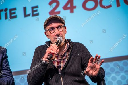 French scenarist Jean-Yves Ferri speaks during a press conference for presenting the 38th album of the adventures of the two Gauls, Asterix and Obelix entitled 'La Fille de Vercingetorix' (Vercingetorix's Daughter) at the Asterix Parc  in Plailly, near Paris, France, 10 April 2019. This album will be released worldwide on 24 October 2019 and will mark the 60th anniversary of the first Asterix's album.