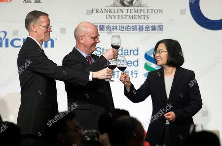 William Brent Christensen, David Meale, Tsai Ing-wen. William Brent Christensen, from left, director of the American Institute in Taiwan, David Meale, Deputy Assistant Secretary at the U.S. Department of State, and Taiwan's President Tsai Ing-wen toast during the 2019 Hsieh Nien Fan annual of the American Chamber of Commerce in Taipei, Taiwan