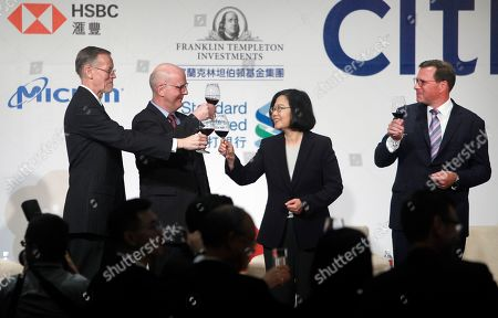 William Brent Christensen, David Meale, Tsai Ing-wen, Leo Seewald. William Brent Christensen, from left, director of the American Institute in Taiwan, David Meale, Deputy Assistant Secretary at U.S. Department of State, Taiwan's President Tsai Ing-wen, and Leo Seewald, AmCham Chairman toast for media during the 2019 Hsieh Nien Fan annual dinner of the American Chamber of Commerce in Taipei, Taiwan