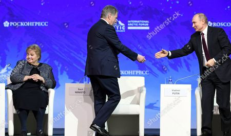 From left, Prime Minister Erna Solberg of Norway, President of Finland Sauli Niinisto and President of Russia Vladimir Putin