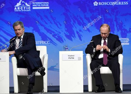Editorial photo of International Arctic Forum, Expoforum Convention and Exhibition Center, St.Petersburg, Russia - 09 Apr 2019