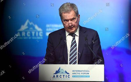 Stock Image of President of Finland Sauli Niinisto speaking