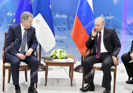 Stock Picture of President of the Republic of Finland Sauli Niinisto meets with President of Russia Vladimir Putin