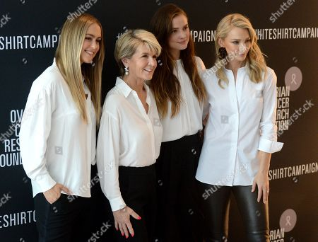 Australian former foreign minister Julie Bishop (2-L) poses for a photograph at the Witchery and Ovarian Cancer Research Foundation White Shirt Campaign launch in Sydney, New South Wales, Australia, 10 April 2019.