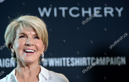 Australian former foreign minister Julie Bishop reacts to a question during a media conference at the Witchery and Ovarian Cancer Research Foundation White Shirt Campaign launch in Sydney, New South Wales, Australia, 10 April 2019.