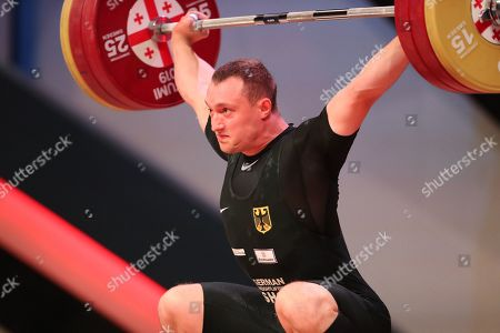 Nico Mueller of Germany makes an attempt during the 81kg men's final at the Weightlifting European Championships, in Batumi, Georgia, 10 April 2019.