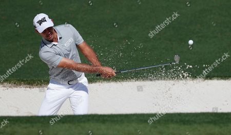 Charl Schwartzel of South Africa hits out of a bunker on the second hole during the final practice round for the 2019 Masters Tournament at the Augusta National Golf Club in Augusta, Georgia, USA, 10 April 2019. The 2019 Masters Tournament is held 11 April through 14 April 2019.
