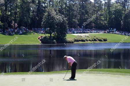 Fuzzy Zoeller of the US putts on the third hole during the 2019 Masters Tournament Par 3 Contest at the Augusta National Golf Club in Augusta, Georgia, USA, 10 April 2019. The 2019 Masters Tournament is held 11 April through 14 April 2019.