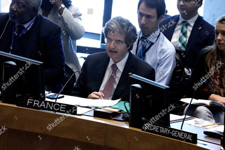 Francois Delattre, Permanent Representative of France to the United Nations speaks at a UN Security Council meeting on the situation on Venezuela at United Nations headquarters, in New York, New York, USA, 10 April 2019. Venezuelan officials said they were ready to receive international aid following a meeting with the Red Cross chief, as the Latin American nation plunged into a new round of blackouts.