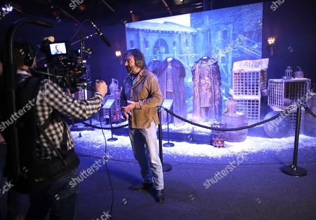Stock Picture of Actor Ian Beattie who starred in the Game of Thrones talks to the media during the launch of The Game of Thrones Touring Exhibition at the Titanic Exhibition centre in Belfast, Northern Ireland, . The exhibition is made up of authentic costumes, props and settings from seven seasons