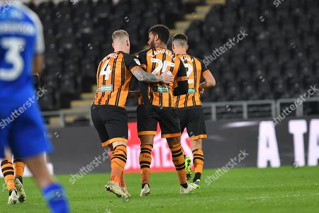 Hull City forward Fraizer Campbell (25) celebrates goal to go 1-1 during the EFL Sky Bet Championship match between Hull City and Wigan Athletic at the KCOM Stadium, Kingston upon Hull