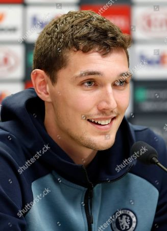 Chelsea's Andreas Christensen answers questions during a press conference at the Sinobo stadium in Prague, Czech Republic, . Chelsea will play Slavia Praha in a Europa League quarterfinal soccer match on Thursday