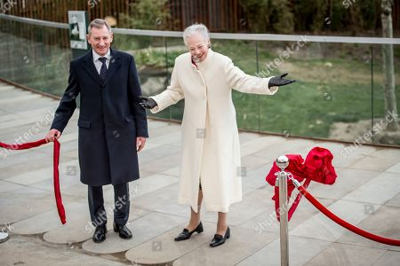 Danish Queen Margrethe (R) with Chairman of the Copenhagen ZOO Joergen Horwitz (L) open the Panda house as part of the joint Danish-Chinese panda research project, whose official designation is Sino-Denmark Giant Panda joint research cooperation, at the Zoo in Copenhagen, Denmark, 10 April 2019. The pandas Xing Er and Mao Sun arrived to Copenhagen on 04 April, but so far it has only been Zoo's professional staff who have had access to the pandas.