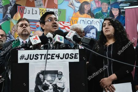 Jorge-Mario Cabrera center, Director of Communications for the Coalition for Humane Immigrant Rights of Los Angeles (CHIRLA), joined by community faith leaders and Melissa Castro, right, Jose Luis Ibarra Bucio's wife, during a news conference, in Los Angeles. The family of a 27-year-old man who died after a short stint in a California immigration detention facility demanded answers Wednesday about what happened to him and the timing of his release. Melissa Castro said her husband, Jose Luis Ibarra Bucio, was released as his health deteriorated from a brain hemorrhage and while he was in a coma from which he never awoke