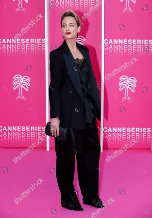 Nora Arnezeder poses on the pink carpet before the closing ceremony of the Cannes Series Festival in Cannes, France, 10 April 2019.