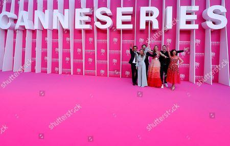 Stock Photo of Cast members of 'Studio Tarara', Belgian screenwriter Tim Van Aelst, Belgian producer Sofie Peeters, Belgian actors Geert Van Rampelberg, Lauren Versnick, Belgian director Wim Geudens, and Belgian actress Janne Desmet pose on the pink carpet before the closing ceremony of the Cannes Series Festival in Cannes, France, 10 April 2019.