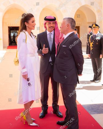 King Abdullah II and Queen Rania and Crown Prince Al Hussein bin Abdullah II.