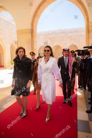 King Abdullah II, Queen Rania, Prince Al Hussein bin Abdullah II, Italian President Sergio Mattarella and his daughter First Lady Laura Mattarella