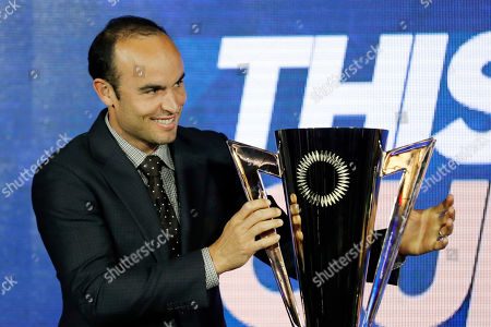 US soccer player 'Captain America' Landon Donovan brings the cup for the unveiling ceremony of the 2019 Gold Cup Groups and Schedule at the Banc of California Stadium in Los Angeles, California, USA, 10 April 2019. The Gold Cup will run from June 15 to July 07 2019.
