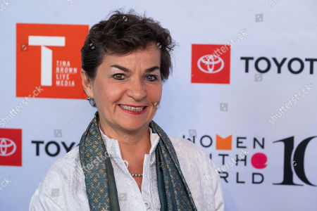Christiana Figueres attends the Women in the World Summit opening night at the David H. Koch Theater at Lincoln Center, in New York