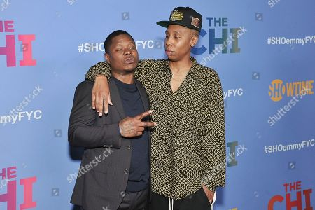 """Jason Mitchell, Lena Waithe. Jason Mitchell, left, and Lena Waithe attend """"The Chi"""" FYC Event at the Pacific Design Center, in Los Angeles"""