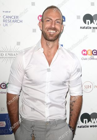 Stock Image of James Ingham on the red carpet at his 'Jog-On to Cancer' 7th annual party raising funds for Cancer Research UK, at Proud Embankment