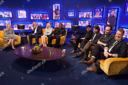 Sara Pascoe, Jeremy Clarkson, Emma Bunton, Samson Kayo, Marcus Mumford, Winston Marshall, Ben Lovett, Ted Dwane, Mumford and Sons