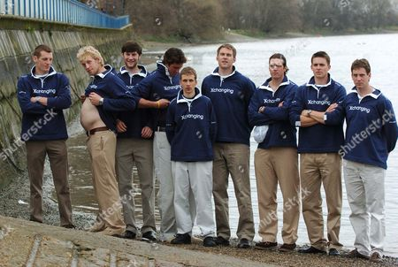 Oxford Crew With Andrew Hodge Shows Off Just How Heavy The Crew Are. The Oxford Tubbies Are Happy To Show Just How They Broke The Boat Race Weigh-in Record While The Slimline Cambridge Crew Are Out Through Their Paces In Training On The Thames.  Boat Race .