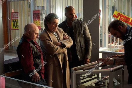 Stock Picture of Clark Middleton as Sindri, Ian McShane as Mr. Wednesday, Ricky Whittle as Shadow Moon and Jeremy Raymond as Dvalin