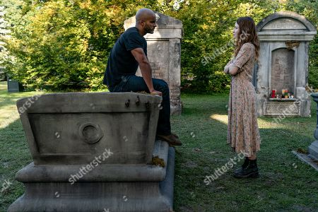 Ricky Whittle as Shadow Moon and Emily Browning as Laura Moon