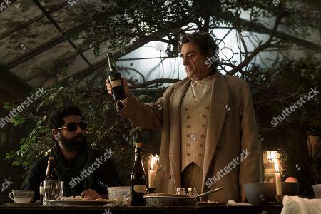 Mousa Kraish as The Jinn and Ian McShane as Mr. Wednesday