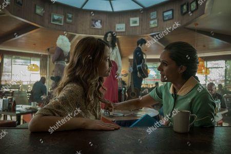 Emily Browning as Laura Moon and Sakina Jaffrey as Mama-Ji