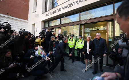 Representatives of Wikileaks founder Julian Assange, Wikileaks Editor in Chief Kristinn Hrafnsson (R) and Barrister Jennifer Robinson (2-R) address the media outside Westminster Magistrates Court in London, Britain, 11 April 2019. Julian Assange was arrested in London 11 April. Wikileaks founder Julian Assange was arrested at the Ecuadorian Embassy in London, where he has claimed political asylum since June 2012, after he was accused of rape and sexual assault against women in Sweden.