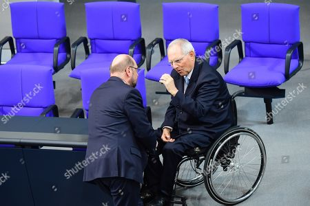 Former Social Democratic Party (SPD) chairman Martin Schulz (L) and the president of the German Parliament Bundestag Wolfgang Schaeuble talk during a voting session for the vice presidency of the German parliament 'Bundestag' in Berlin, Germany, 11 April 2019. The AfD faction undertakes a further attempt in order to provide a vice president in the Bundestag. Former candidates Albrecht Glaser and Mariana Iris Harder-Kuehnel failed to get the necessary amount of votes.