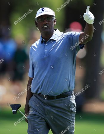 Vijay Singh of Fiji reacts on the first hole during the first round of the 2019 Masters Tournament at the Augusta National Golf Club in Augusta, Georgia, USA, 11 April 2019. The 2019 Masters Tournament is held 11 April through 14 April 2019.