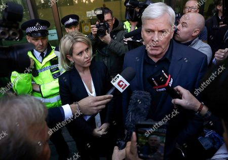 Kristinn Hrafnsson, editor of WikiLeaks, right, and barrister Jennifer Robinson speak to the media outside Westminster magistrates court where WikiLeaks founder Julian Assange was appearing in London, . Police in London arrested WikiLeaks founder Assange at the Ecuadorean embassy Thursday, April 11, 2019 for failing to surrender to the court in 2012, shortly after the South American nation revoked his asylum